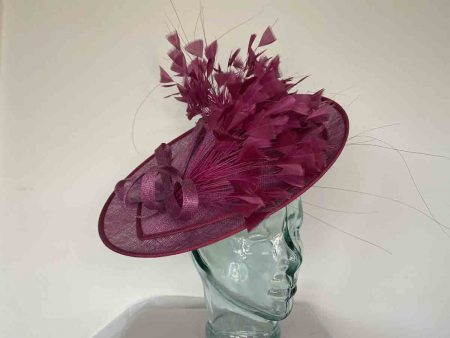 Circular hatinator with dramatic feather detail in cassis and berry