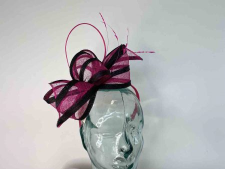 Sinamay looped fascinator in pink and black