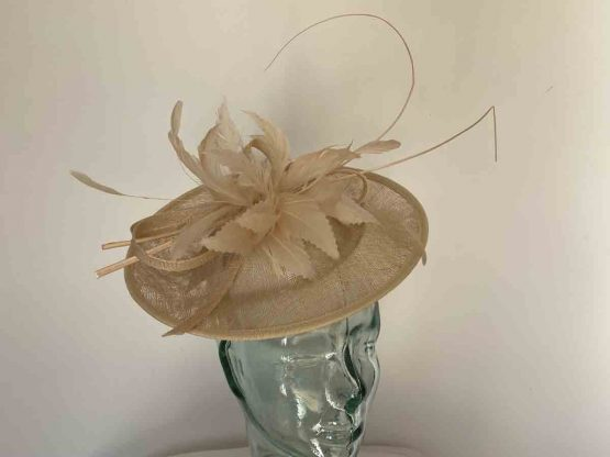 Curicular hatinator with feathered flower in champagne