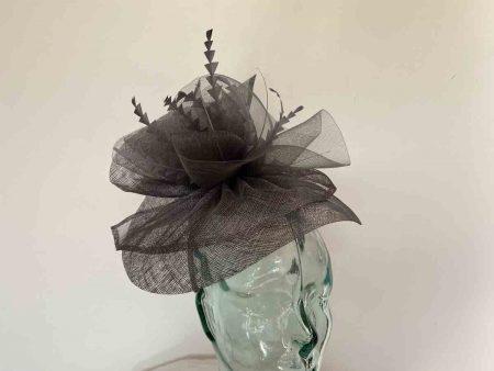 Sinamay ruffle fascinator in slate grey