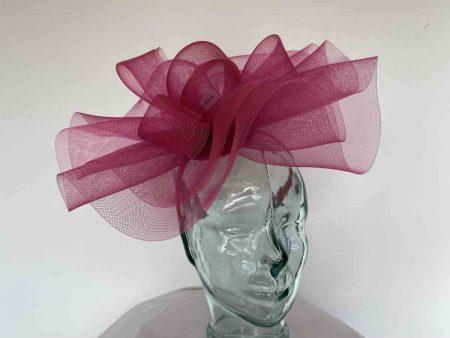 Crin fascinator in raspberry pink